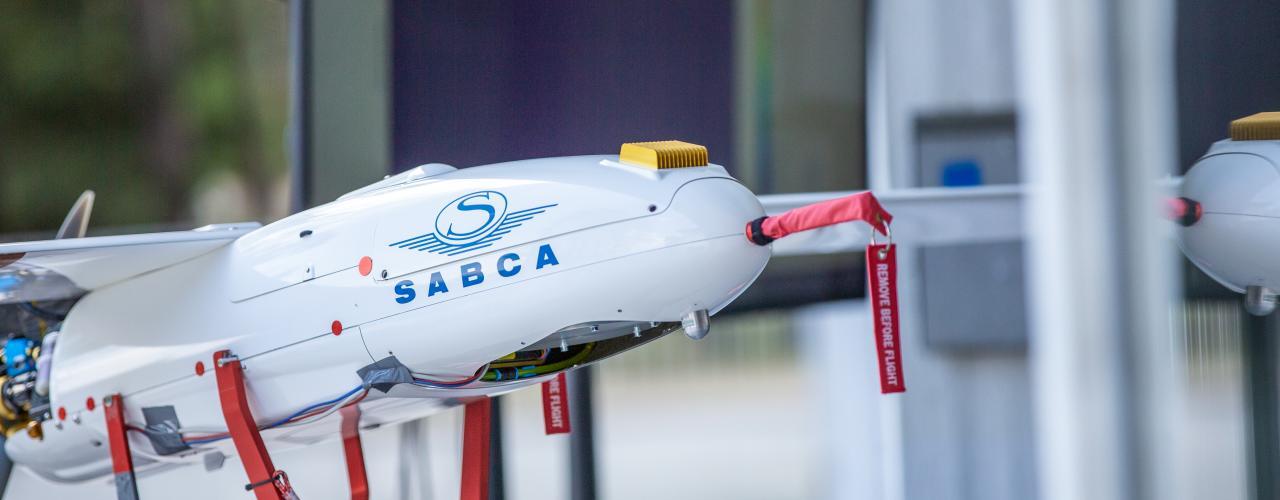Dron na meranie rádioaktivity spoločnosti Sabca